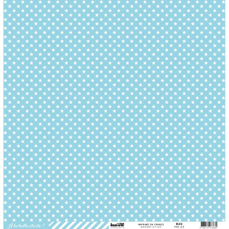 cardstock étoile - rayure bleu