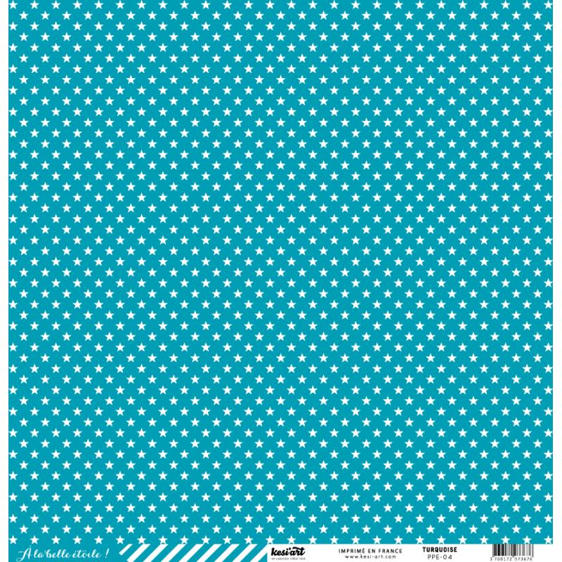 cardstock étoile - rayure turquoise