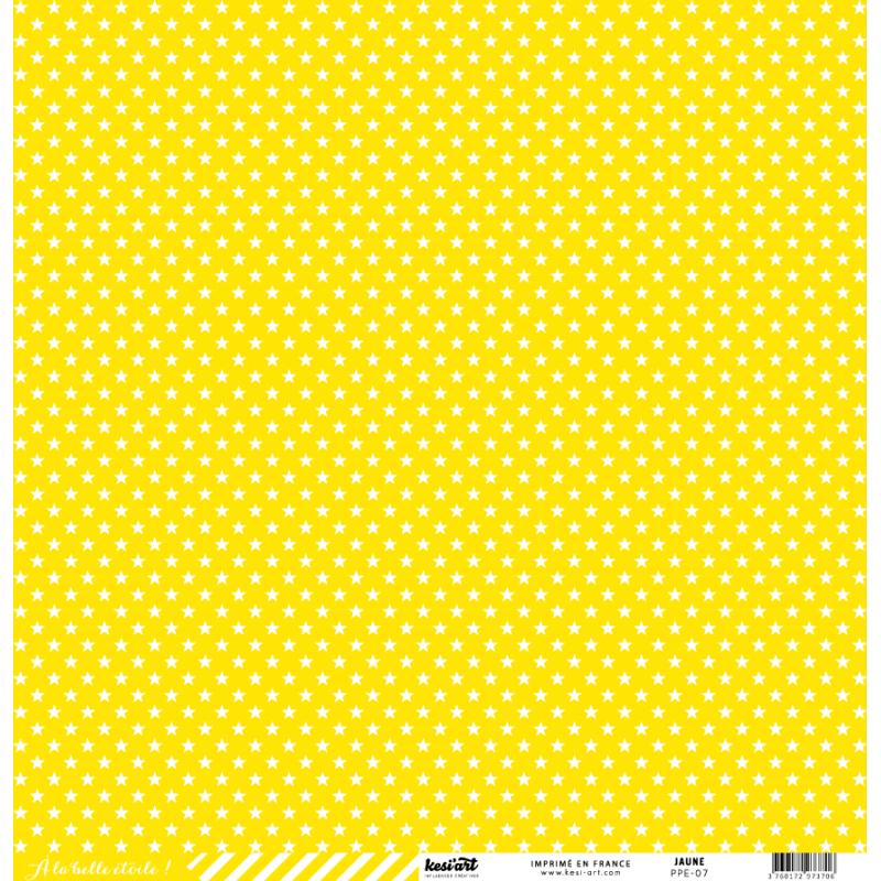 cardstock étoile - rayure jaune