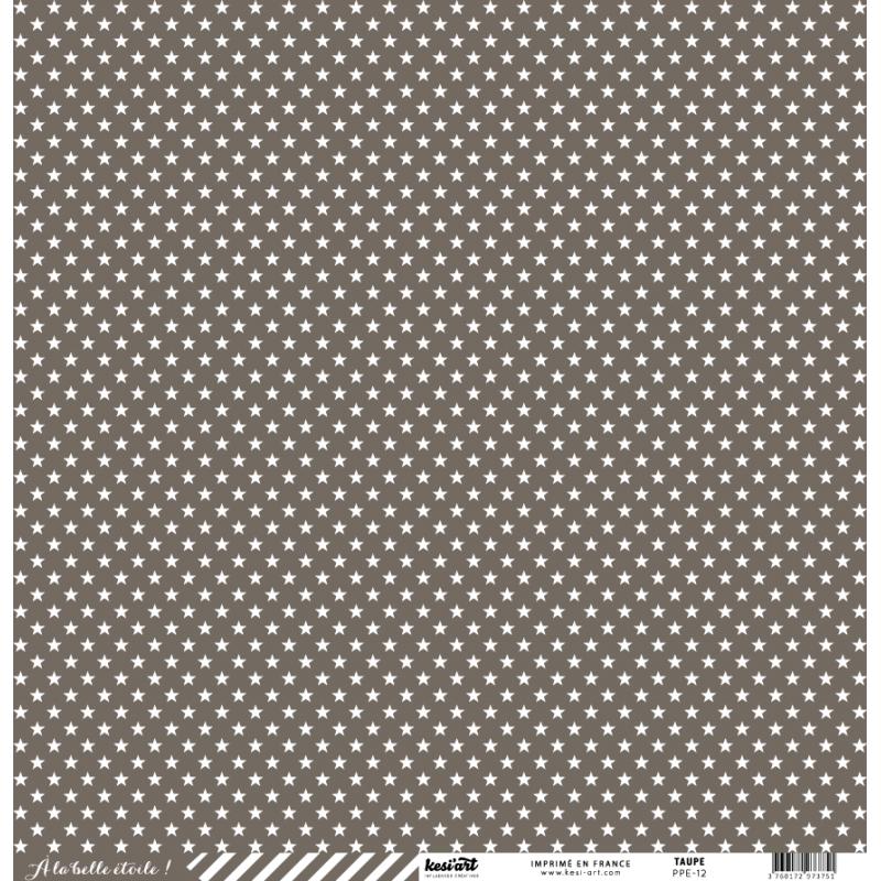 cardstock étoile - rayure taupe