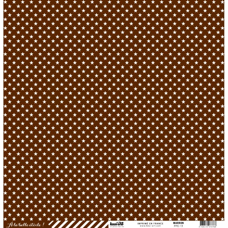 cardstock étoile - rayure marron