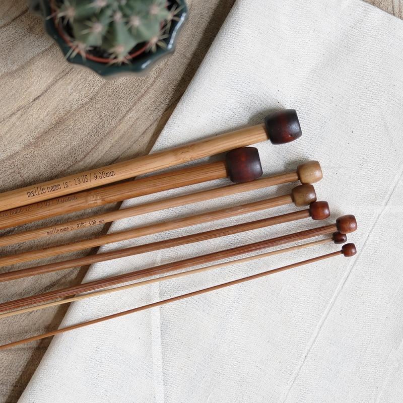 les aiguilles droites en bamboo