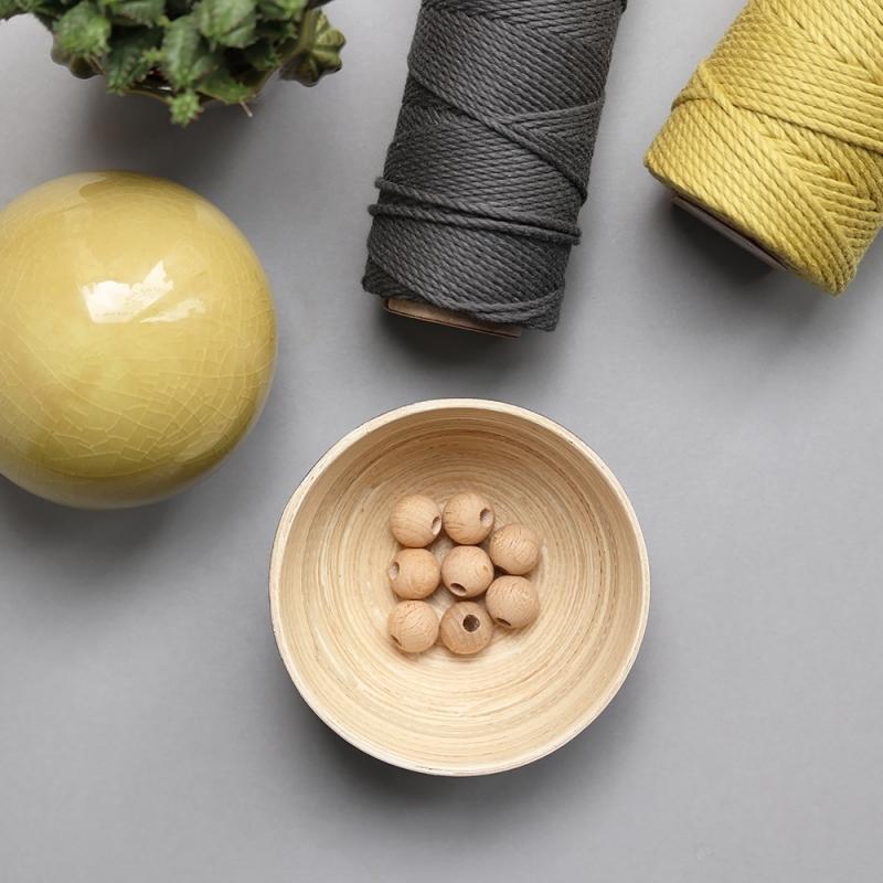 les perles décoratives en bois naturel - 1,5 cm
