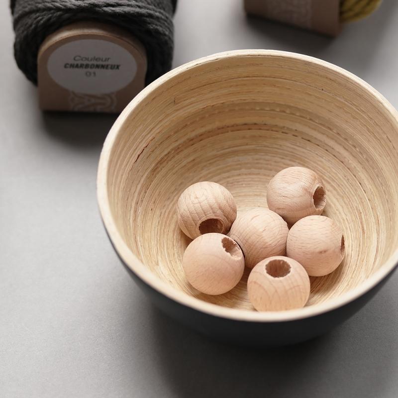 Perles en bois naturel 2 cm