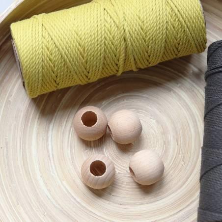Perles en bois naturel 3 cm