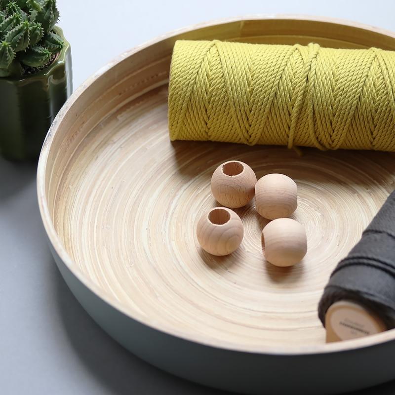 les perles décoratives en bois naturel - 3 cm