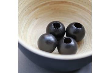 Black wooden beads 2 cm