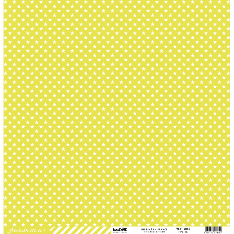 Double-sided printed paper with star and line 30 x 30 cm - Kesi'Art Basic  color green lime