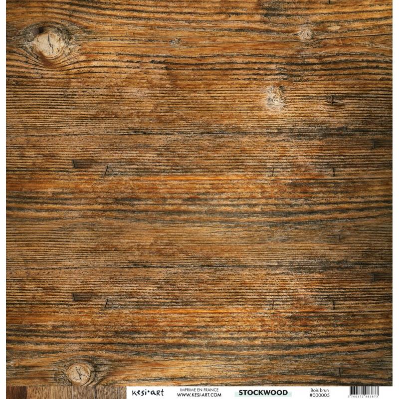 Papier 30 x 30 cm - Bois brun recto