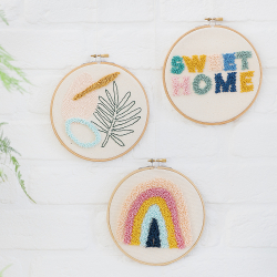 Ready-to-create punch needle embroidered hoop kit - Palm