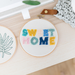 Ready-to-create punch needle embroidered hoop kit - Kilim