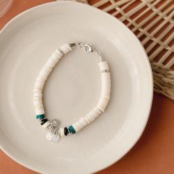 Kit bracelet argent et écru...