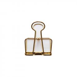 Pince double clip évidée dorée