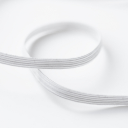 White braided flat elastic 5mm