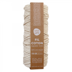 Recycled cotton yarn ecru 4 mm