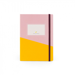 Pink and yellow notebook...