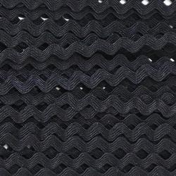 Zigzag ribbon 4mm - Black x 1m