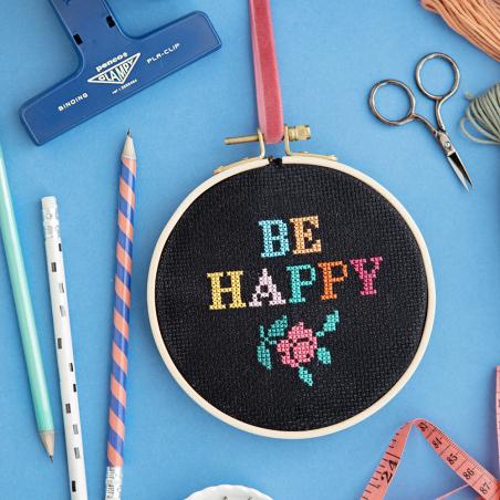 Kit point de croix - Be happy
