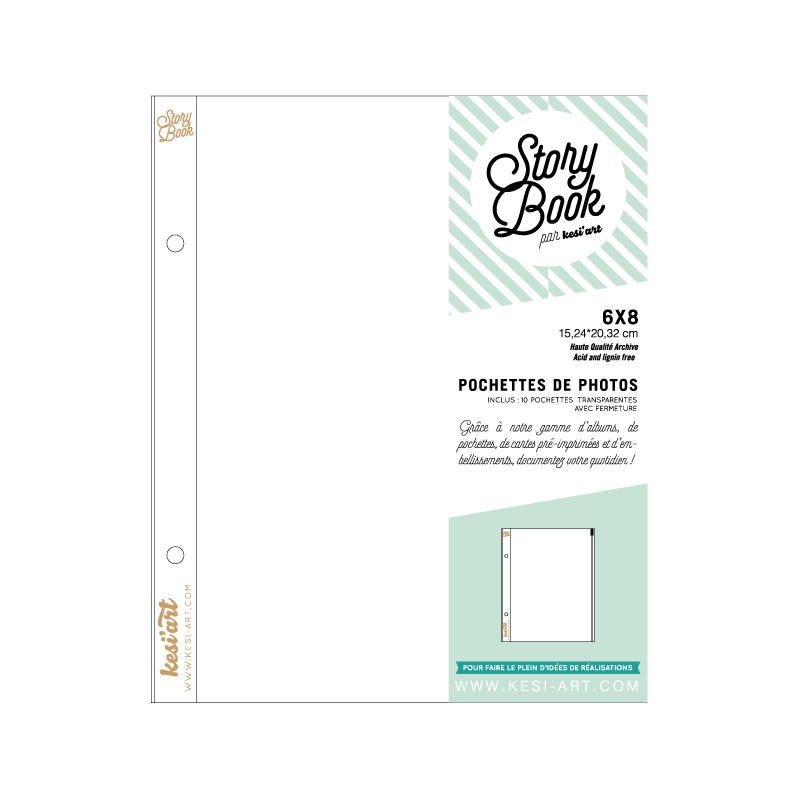 Clear pockets with zipper - 6 x 8 in