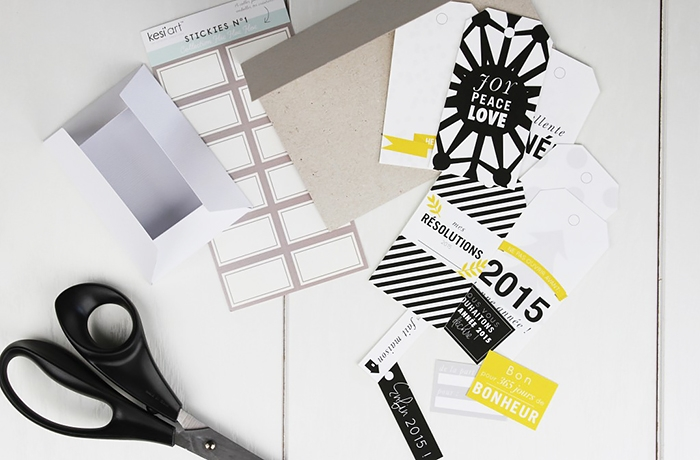 Sheet of happy new year 2015 labels