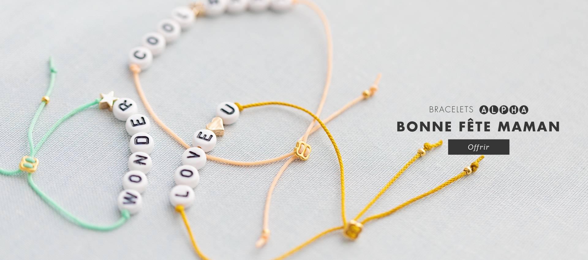 Kit DIY bracelets alpha à message : dites-lui combien vous l'aimez ! Bonne fête maman !