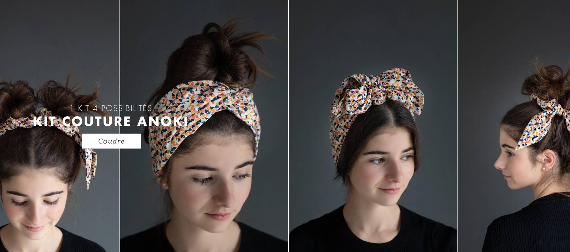 1 kit, 4 possibilités... headband, turban, chouchou et foulchie, à toi de coudre tes accessoires cheveux !