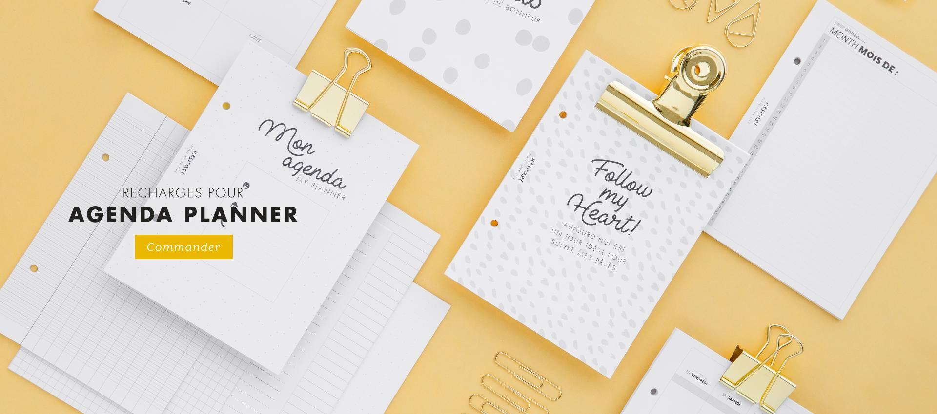Compose ton propre agenda en mixant les recharges pour classeur planner !