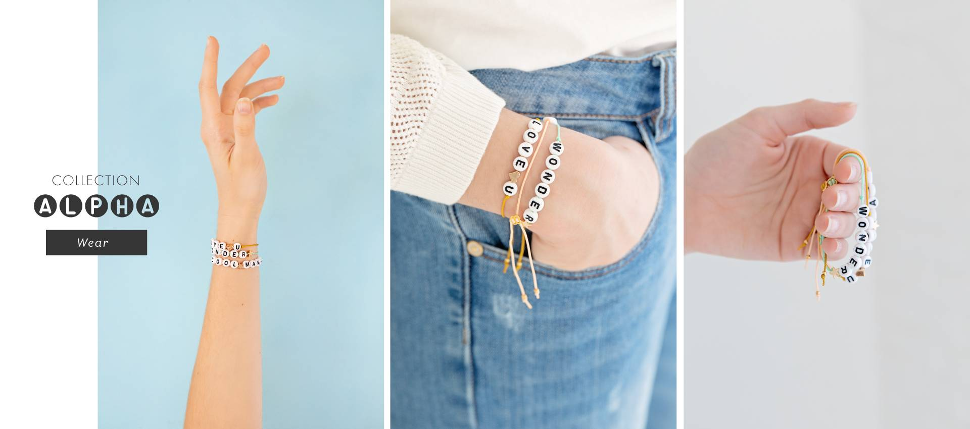 CAPSULE COLLECTION: 3 jewelry kits to create colorful message bracelets for the summer
